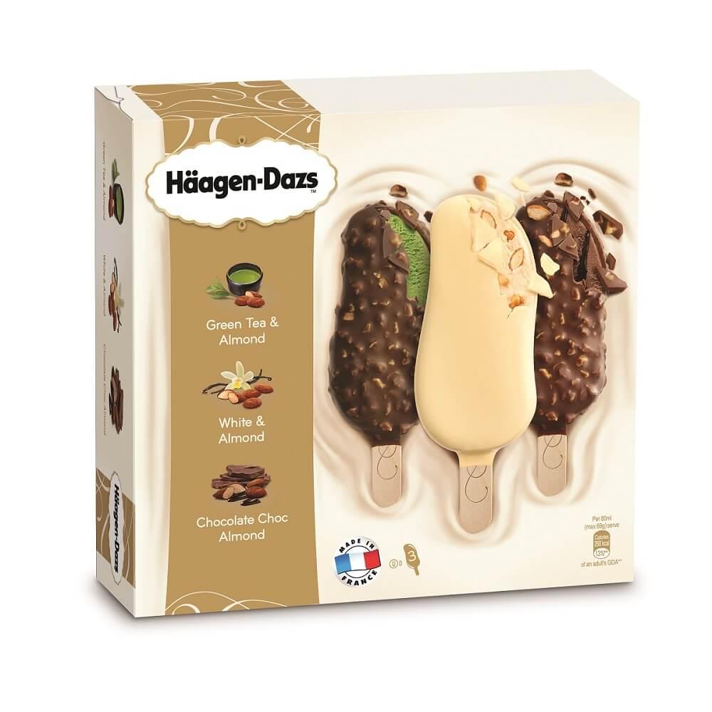 """ไอศกรีมฮาเก้น-ดาสเสริมทัพความอร่อยด้วยสติ๊กบาร์รสชาติใหม่ """"ไวท์แอนด์อัลมอนด์"""""""